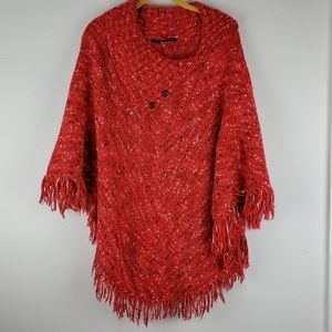 Kenzie Red Speckled Knit Sweater Fringe Poncho
